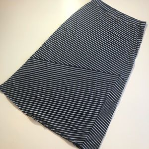 Large SONOMA Blue White Striped Long Maxi Skirt
